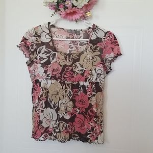 Apt. 9 Floral Mesh Top Size PS